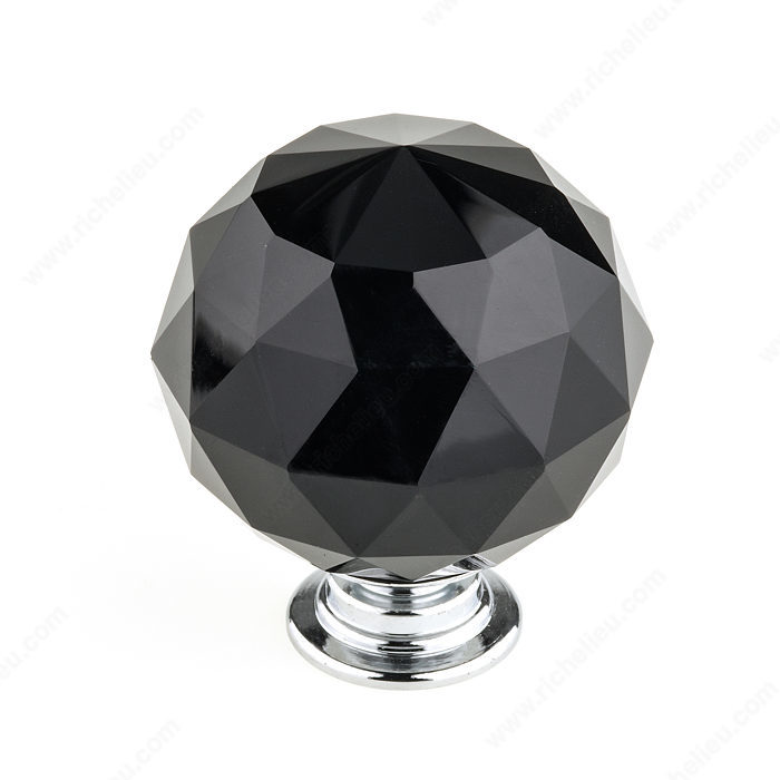 Richelieu BP87374014090 Eclectic Crystal Knob - 8737 - Chrome / Black