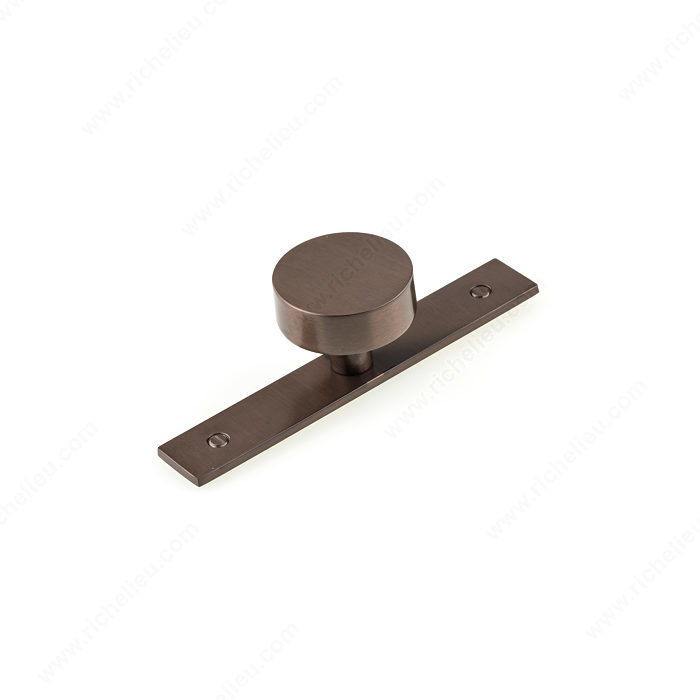 Richelieu BP229540HBRZ Contemporary Metal Wardrobe Knob and Backplate - Honey Bronze