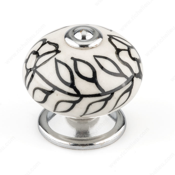 Richelieu BP6347401404090 Eclectic Ceramic Knob - 6347 - Almond / Chrome / Black