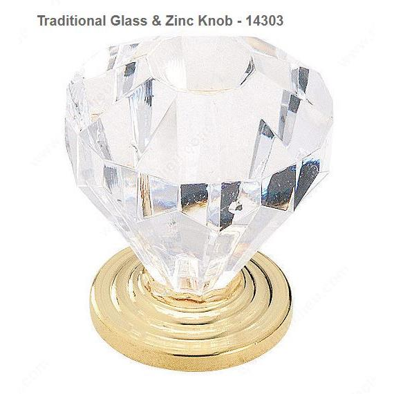 Richelieu Hardware 14303CBB Traditional Glass & Zinc Knob