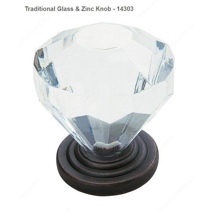 Richelieu Hardware 14303ORB Traditional Glass & Zinc Knob