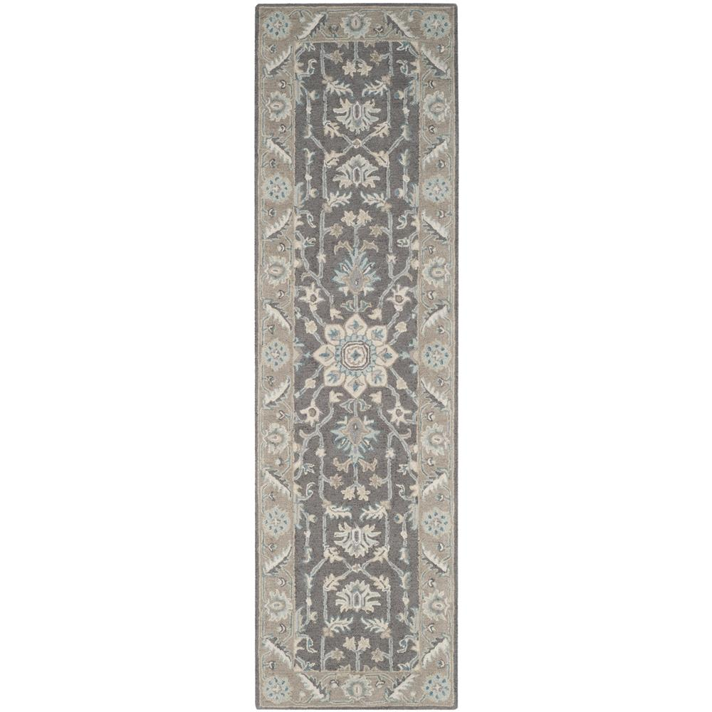 Safavieh BLM217A-28 Blossom Hand Tufted Indoor Rug in Dark Grey / Light Brown