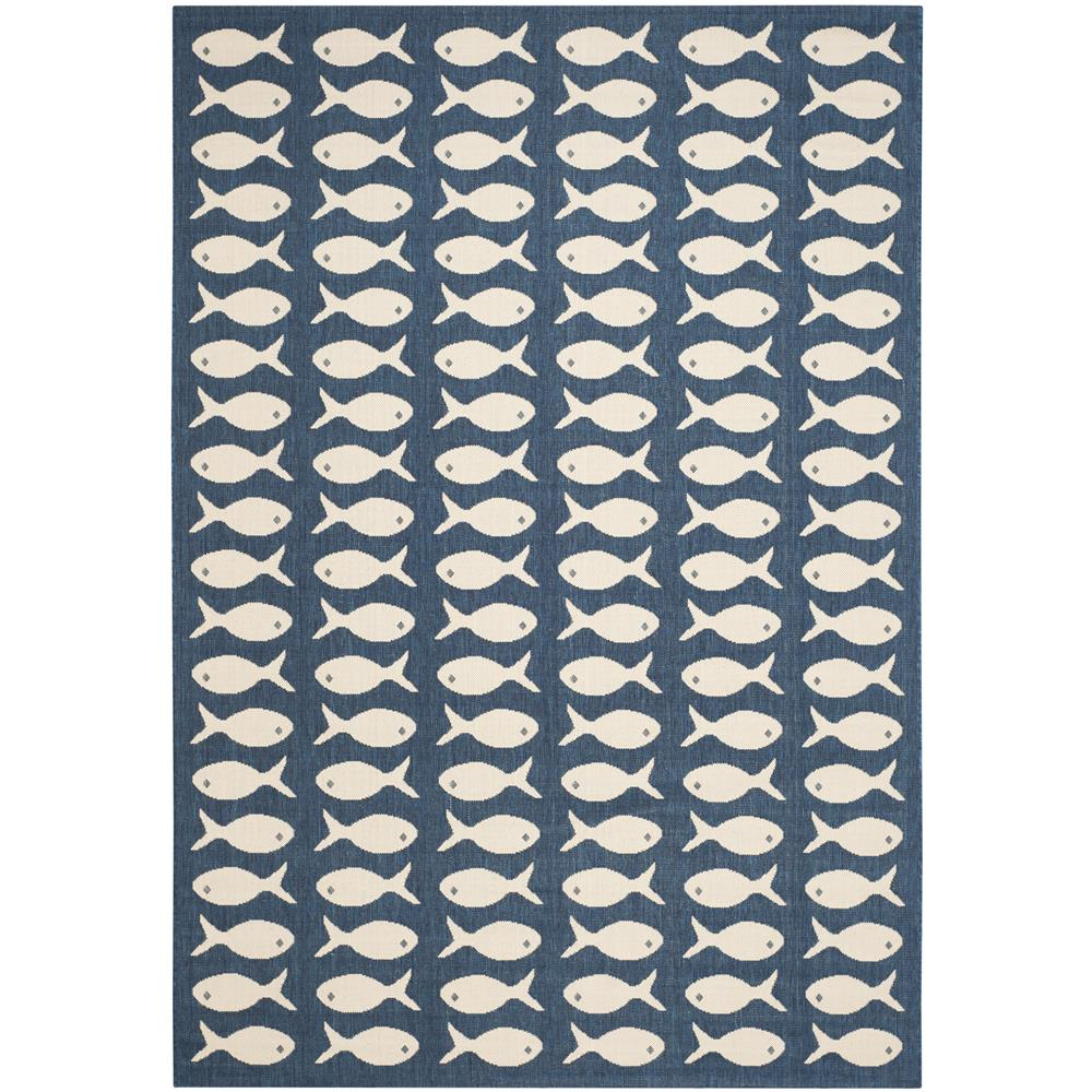 Safavieh CY6013-268-5 COURTYARD 6000 Indoor/Outdoor in NAVY / BEIGE