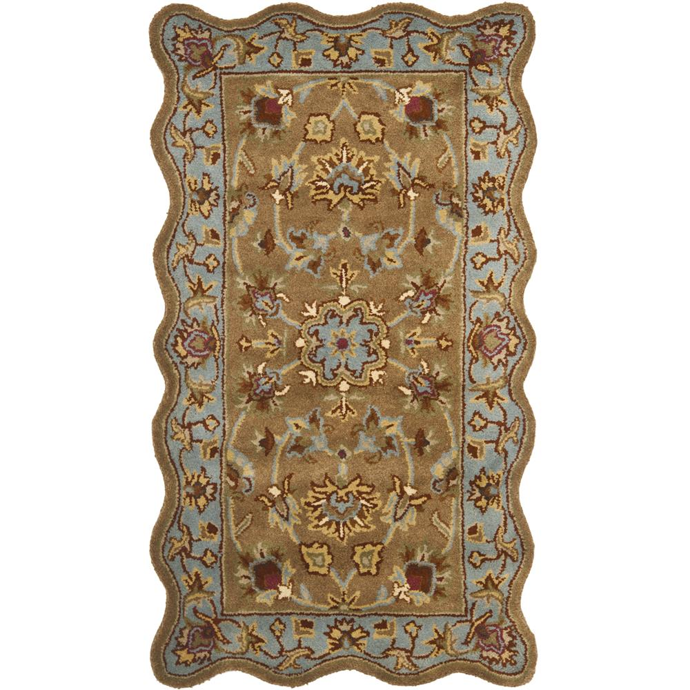 Safavieh HG821A-24S Heritage Area Rug in Beige / Blue with scalloped edges.