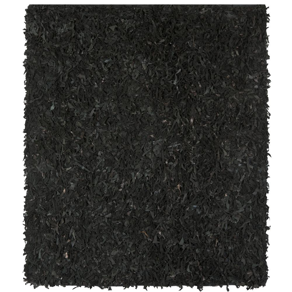 Safavieh LSG511A-8SQ Leather Shag Area Rug in Black