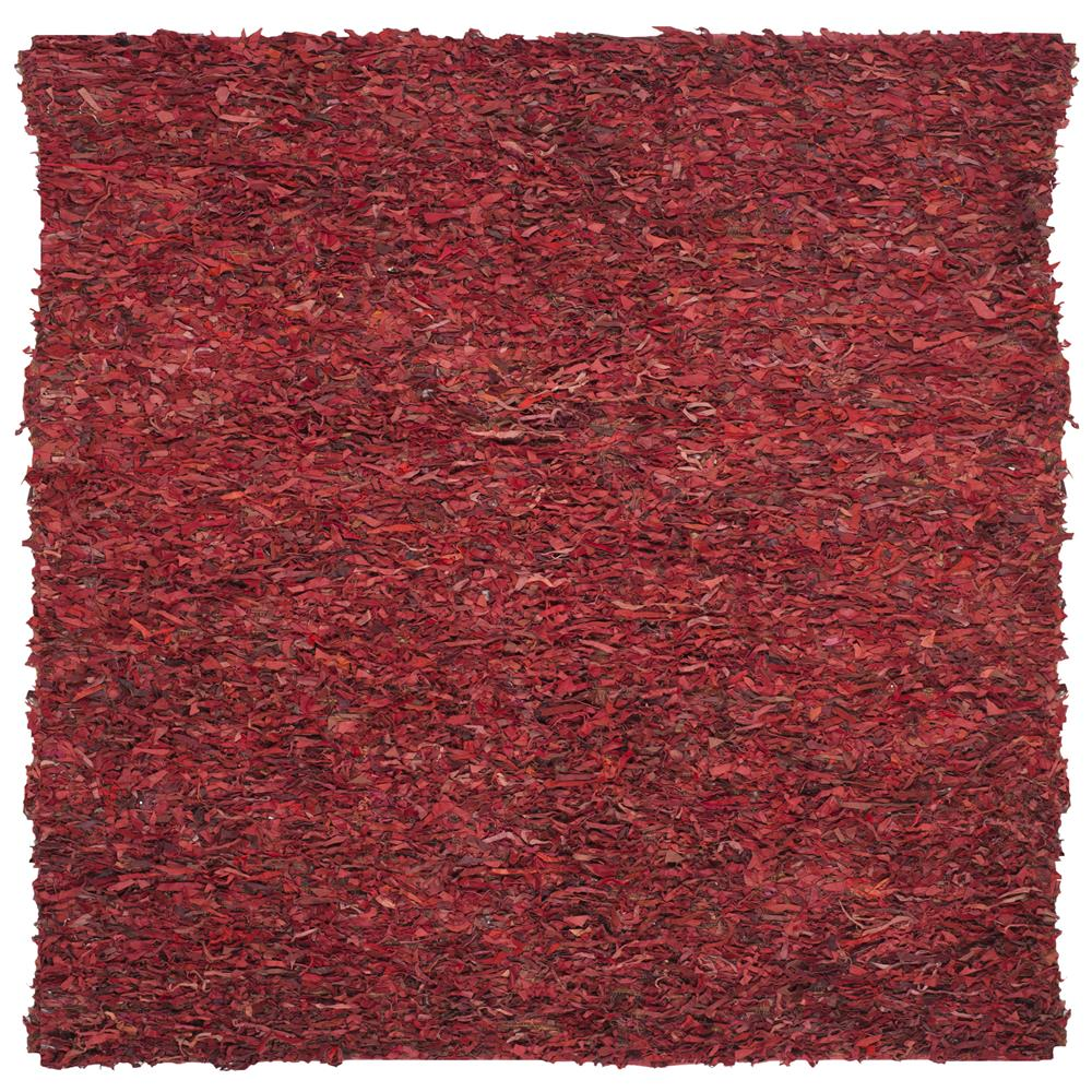 Safavieh LSG511D-6SQ Leather Shag Area Rug in RED