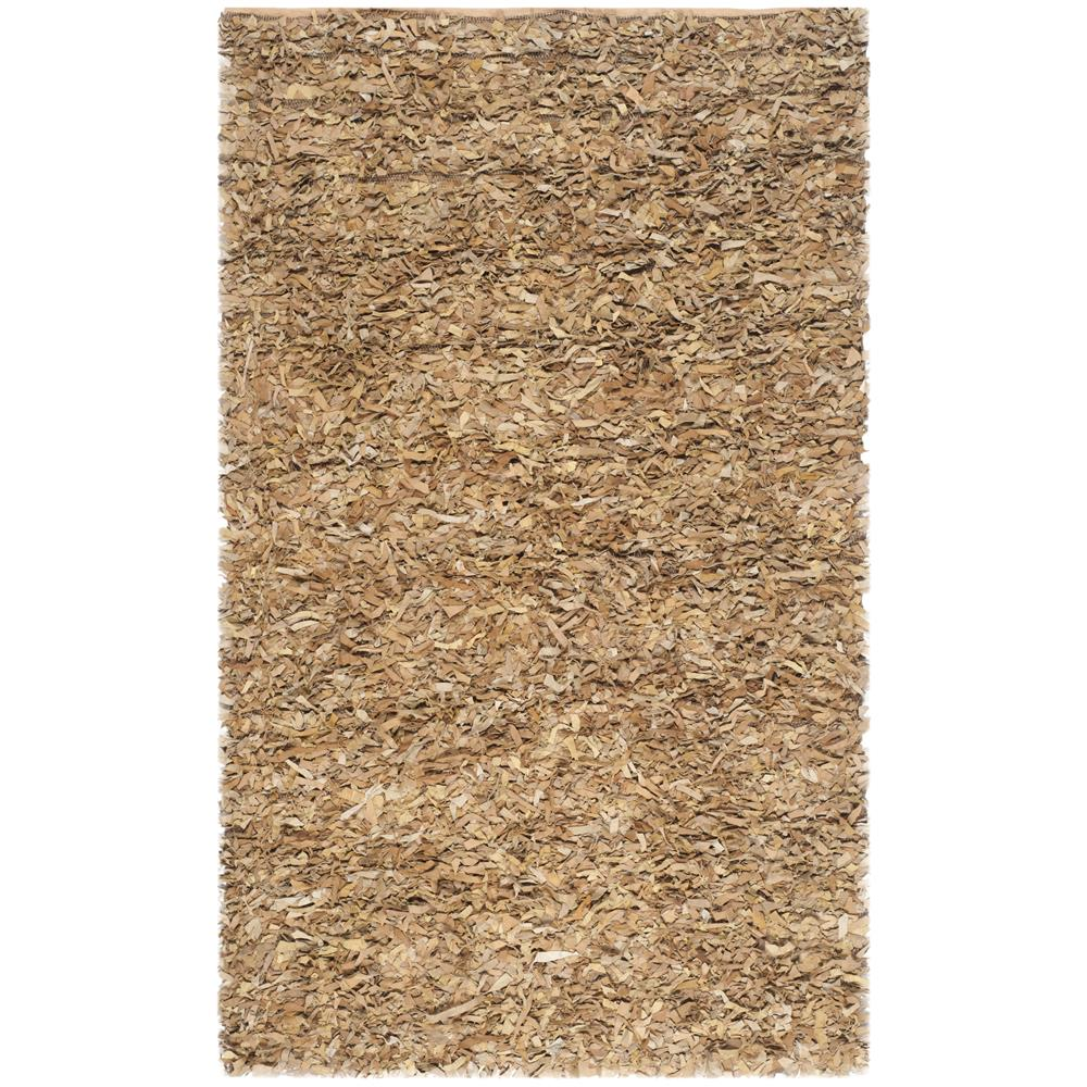 Safavieh LSG511G-8 Leather Shag Area Rug in LIGHT GOLD