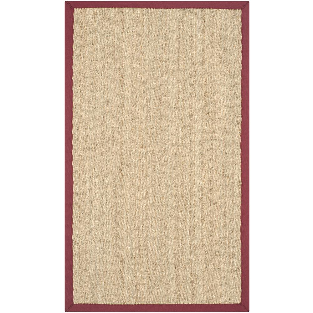 Safavieh NF115D-24 Natural Fiber Area Rug in NATURAL / RED