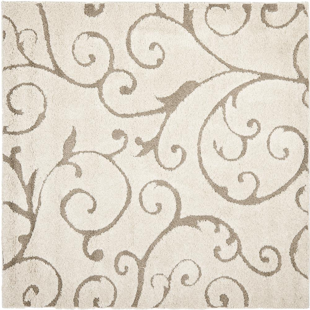Safavieh SG455-1113-7SQ Florida Shag Area Rug in CRÈAM / BEIGE