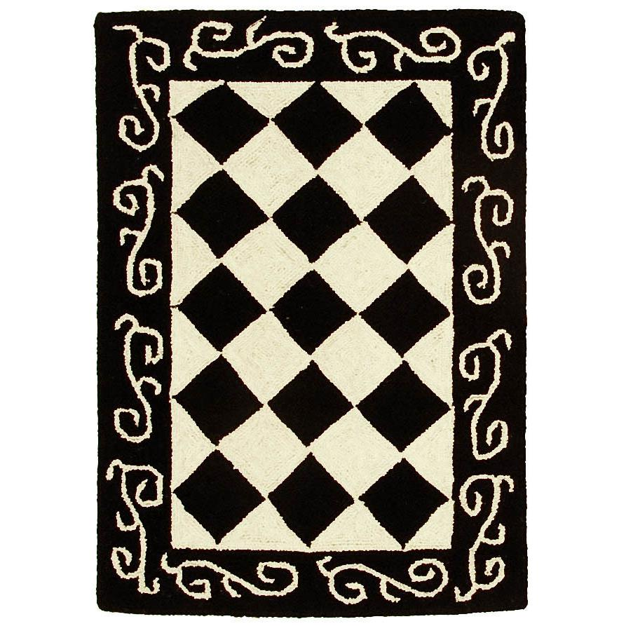 Safavieh HK711A-2 Chelsea  Area Rug in BLACK / IVORY