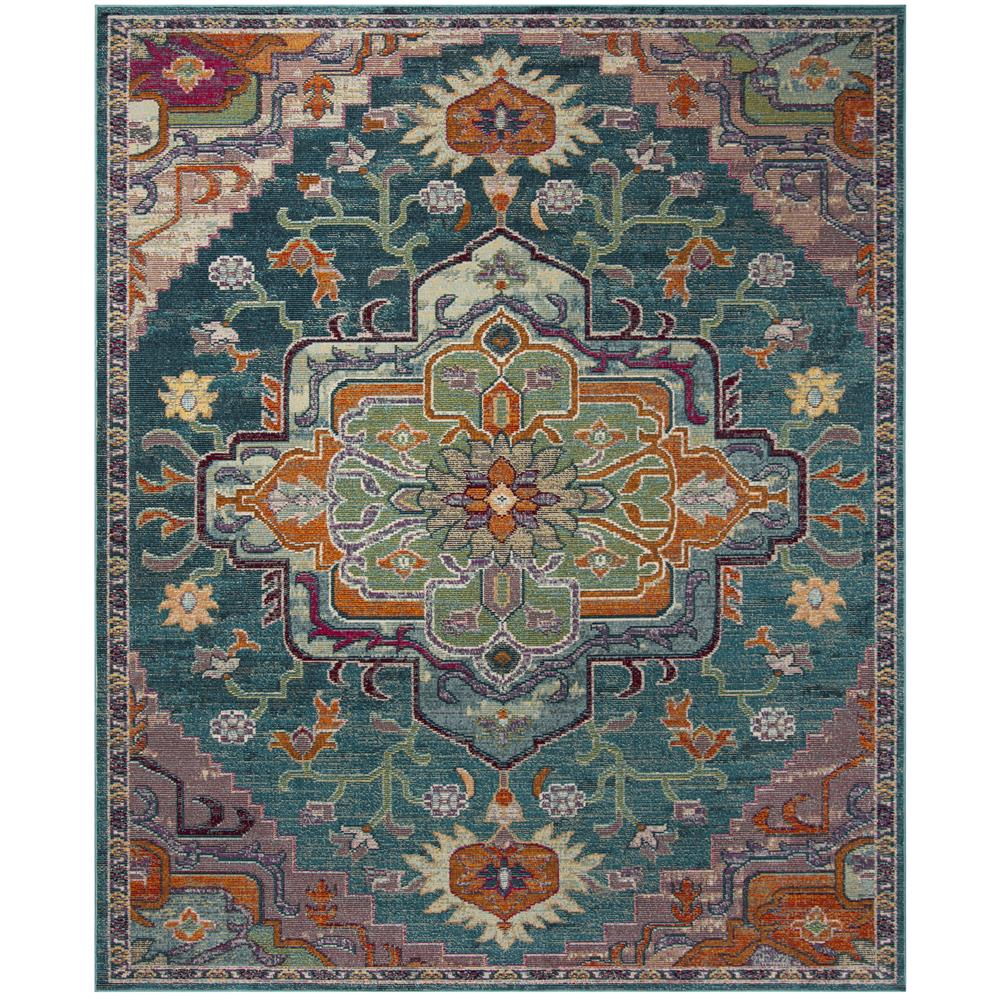 Safavieh CRS501T CRYSTAL Teal / Rose Area Rug - 8