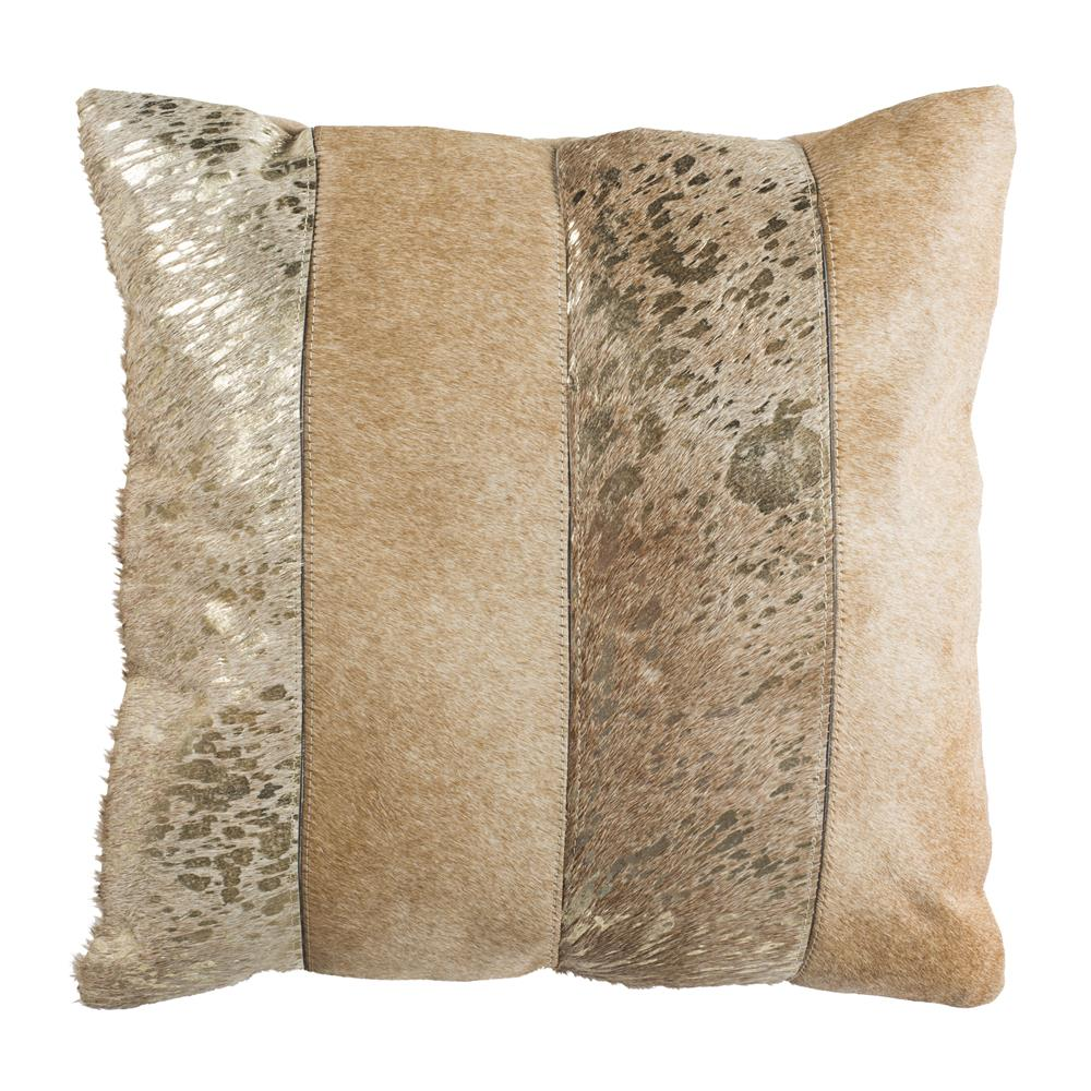 "Safavieh PLS230A-2020 Blair Metallic Cowhide 20""x20"" Pillow in Beige/gold"