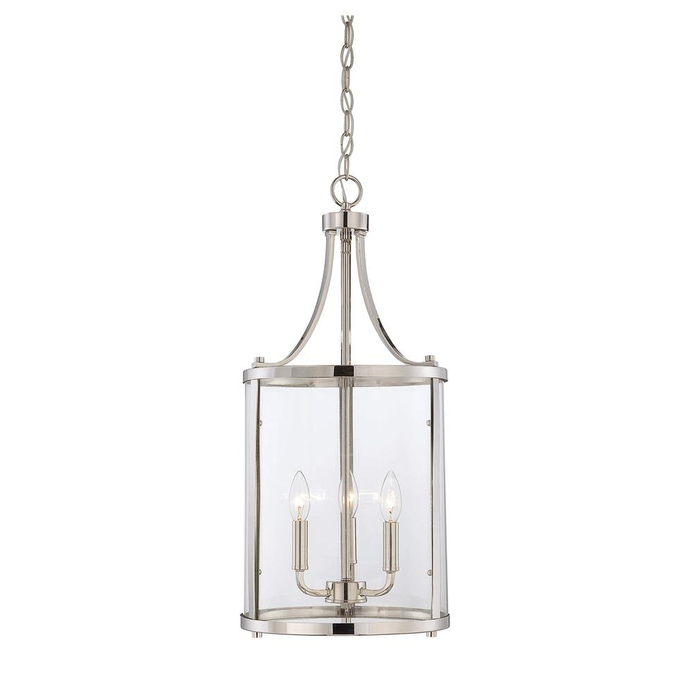 Savoy House 7-1040-3-109 Penrose 3 Light Small Foyer Lantern in Polished Nickel