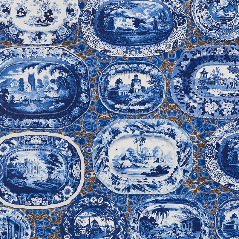 Schumacher 5010410 Johnson-hartig-for-libertine Collection Plates & Platters Wallpaper in Blue