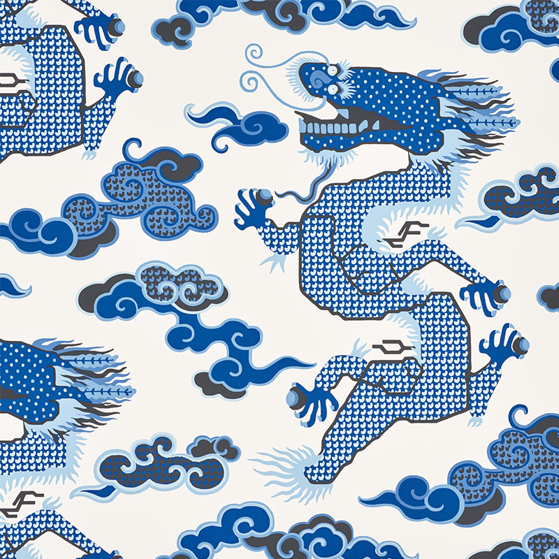 Schumacher 5010600 Johnson-hartig-for-libertine Collection Magical Ming Dragon Wallpaper in Porcelain