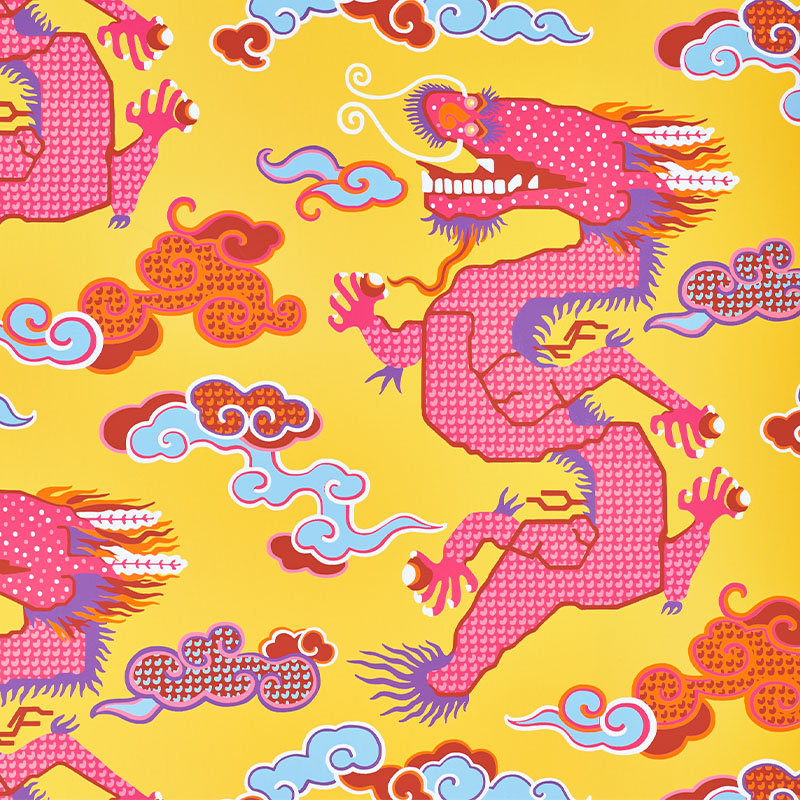 Schumacher 5010601 Johnson-hartig-for-libertine Collection Magical Ming Dragon Wallpaper in Yellow