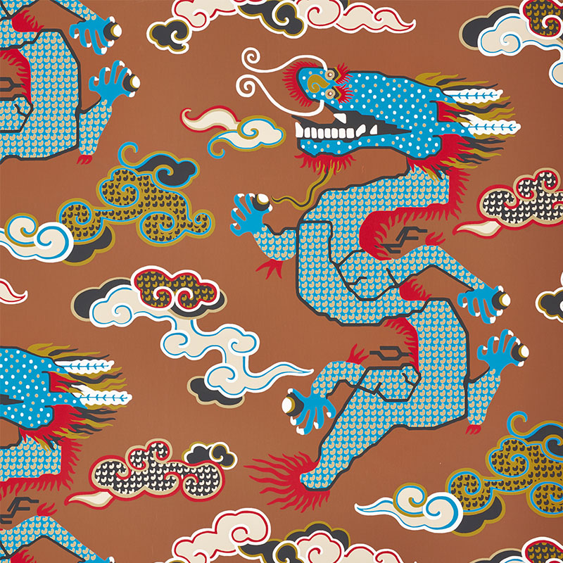 Schumacher 5010602 Johnson-hartig-for-libertine Collection Magical Ming Dragon Wallpaper in Brown