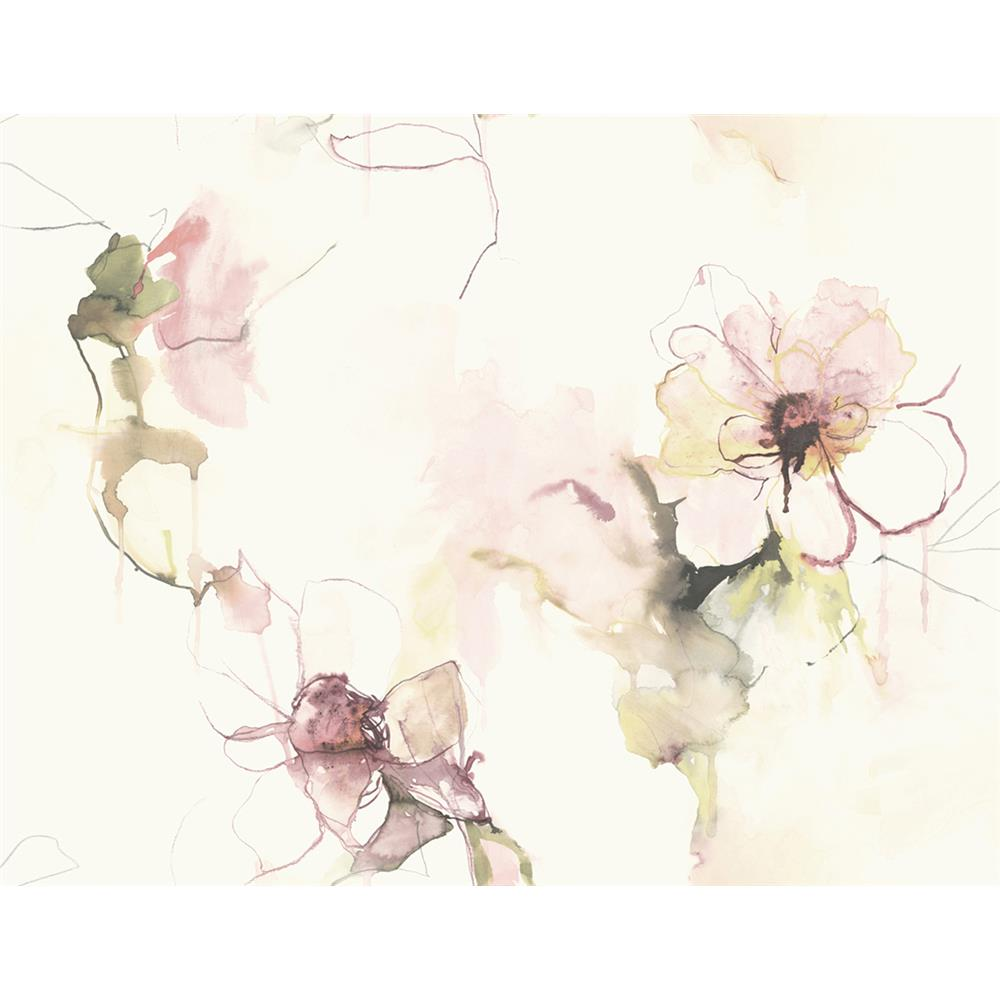Seabrook Designs LW50001 Living with Art Anemone Watercolor Floral Wallpaper in Pink Lemonade and Wine