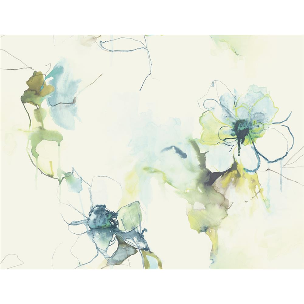 Seabrook Designs LW50004 Living with Art Anemone Watercolor Floral Wallpaper in Glacier Blue and Pear