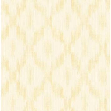 Seabrook MT80105 SEABROOK DESIGNS-MONTAGE POMERELLE IKAT Wallpaper in Metallic Gold/ Yellow/Gold