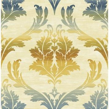 Seabrook MT80203 SEABROOK DESIGNS-MONTAGE CATAMOUNT Wallpaper in Blue/ Off White/ Yellow/Gold
