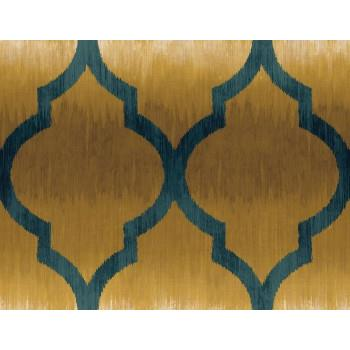 Seabrook MT80403 SEABROOK DESIGNS-MONTAGE CATAMOUNT OGEE Wallpaper in Blue/ Brown/ Metallic/ Yellow/Gold