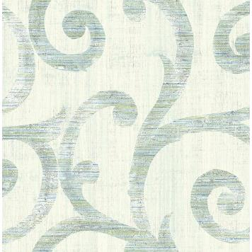 Seabrook MT80802 SEABROOK DESIGNS-MONTAGE SILVERTON Wallpaper in Blue/ Green/ White