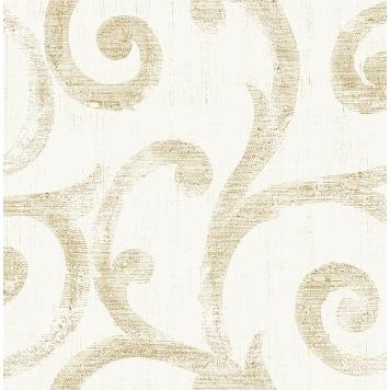 Seabrook MT80808 SEABROOK DESIGNS-MONTAGE SILVERTON Wallpaper in Metallic Gold/ Neutrals/ Off White