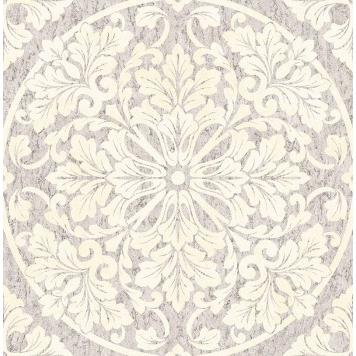 Seabrook MT81408 SEABROOK DESIGNS-MONTAGE MARQUETTE Wallpaper in Gray/ White
