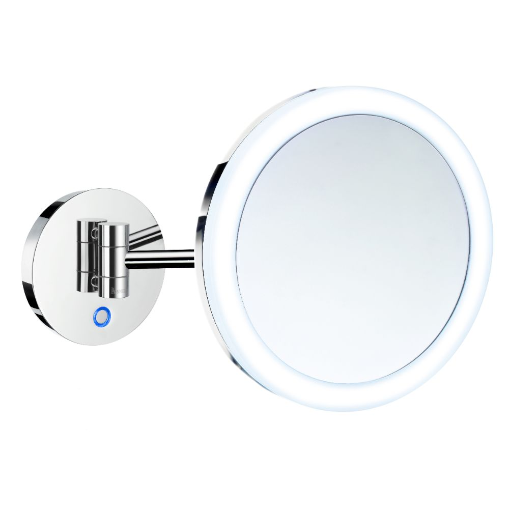 Smedbo FK485E Shaving/Make Up Battery Mirror Wallmount 5X Magnification Led Light Warm/Cool