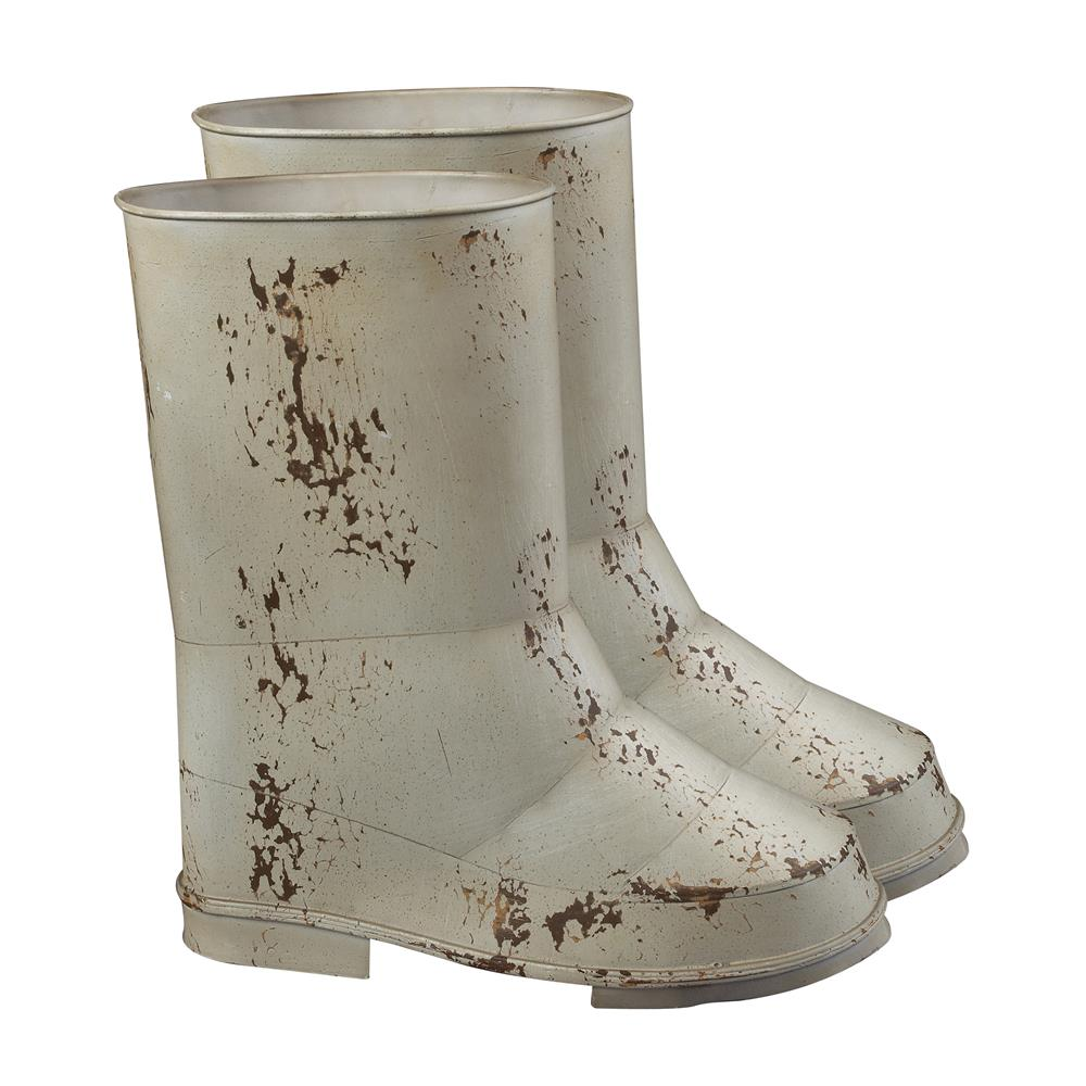 ELK Home 128-1019/S2 Set Of 2 Boot Planters In Distressed Country Cream