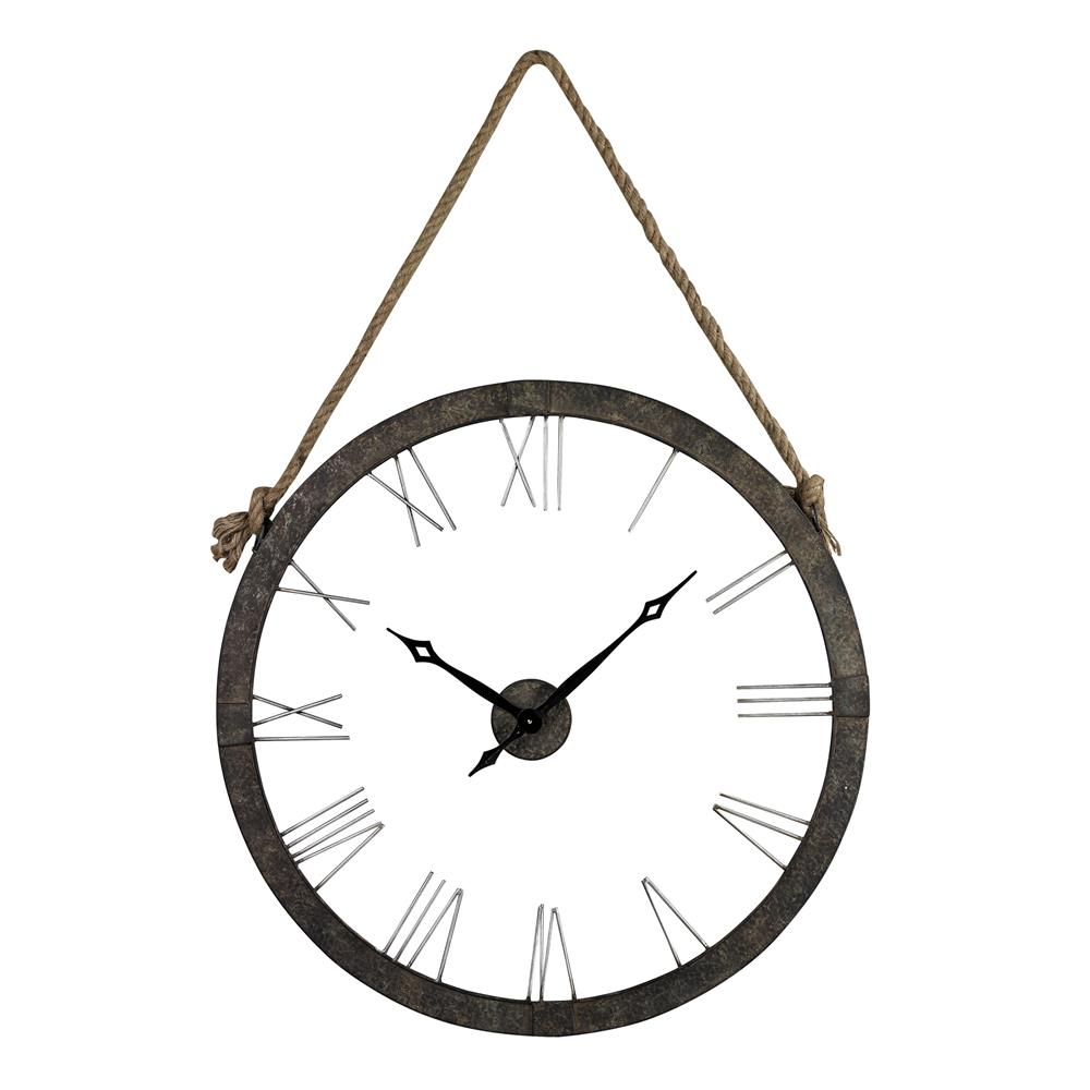 ELK Home 26-8643 Metal Wall Clock Hung On Rope In Rustic Iron/ Silver