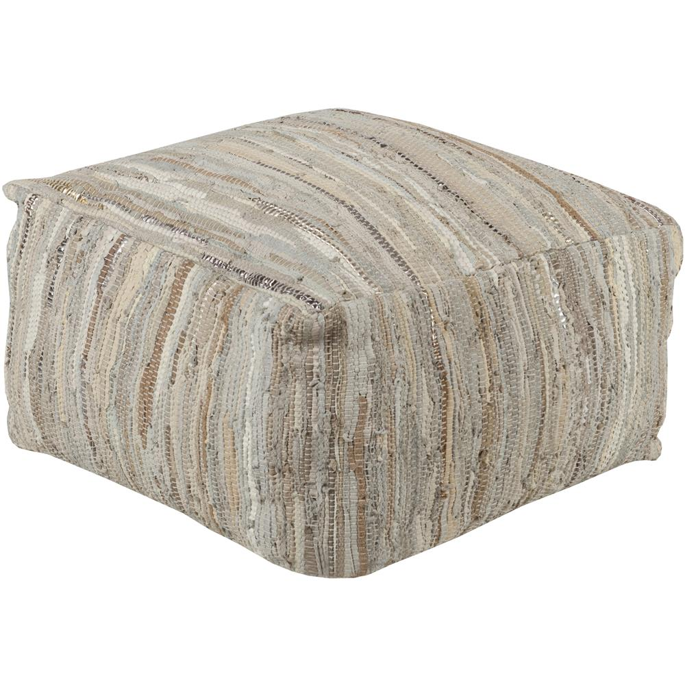 Surya ATPF-001 Anthracite 24 x 24 x 13 Pouf in Cream/ Khaki/ Pale Blue/ Silver/ Gold
