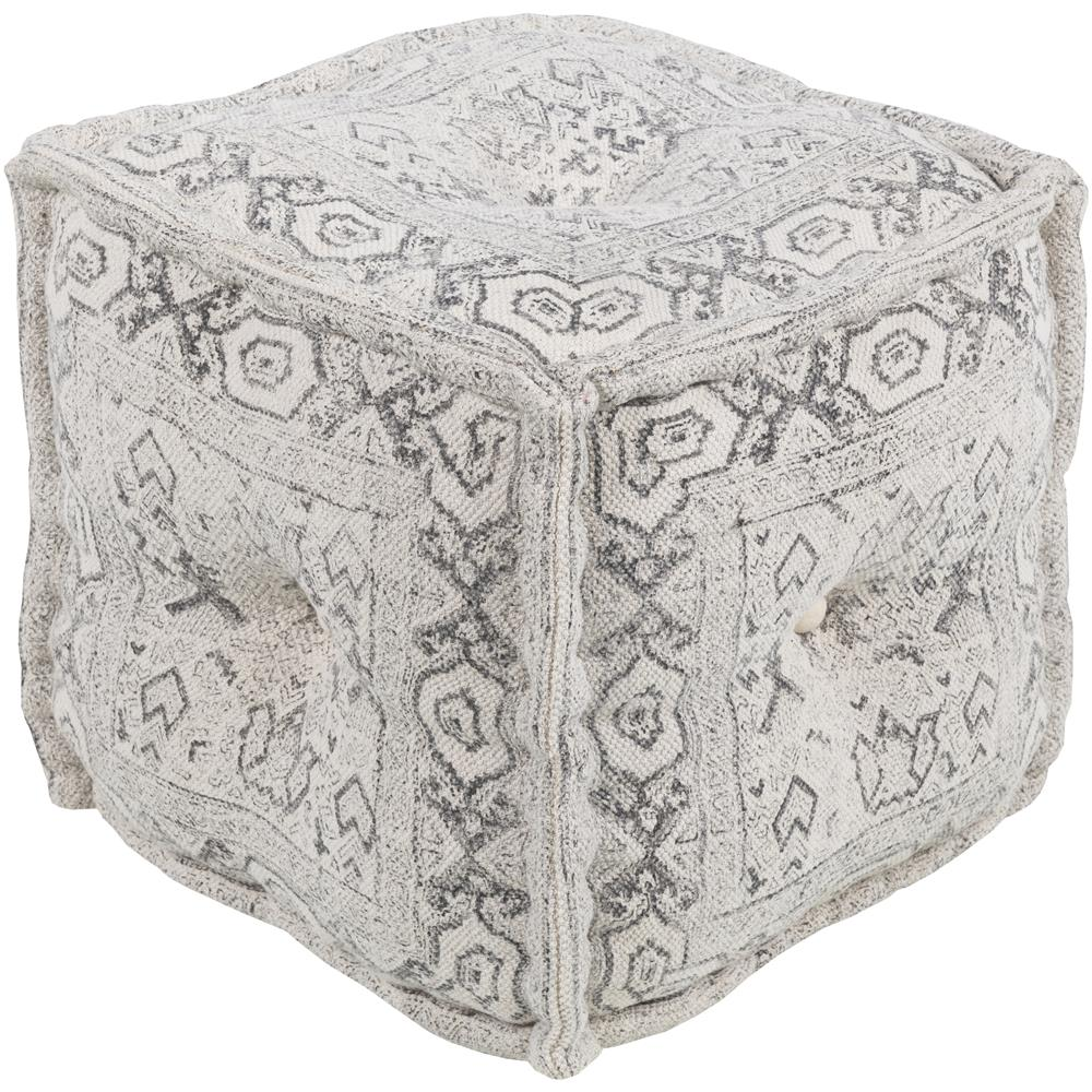 "Surya DVPF001-161616 Daveed 16"" x 16"" x 16"" Pouf in White, Charcoal"