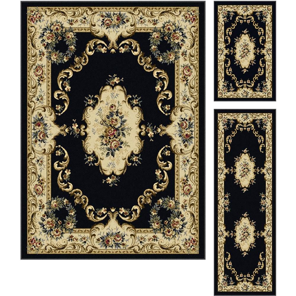 Tayse 4613  Charcoal  3 Pc. Set Laguna Angeline Charcoal 3 Pc. Set Traditional Area Rug