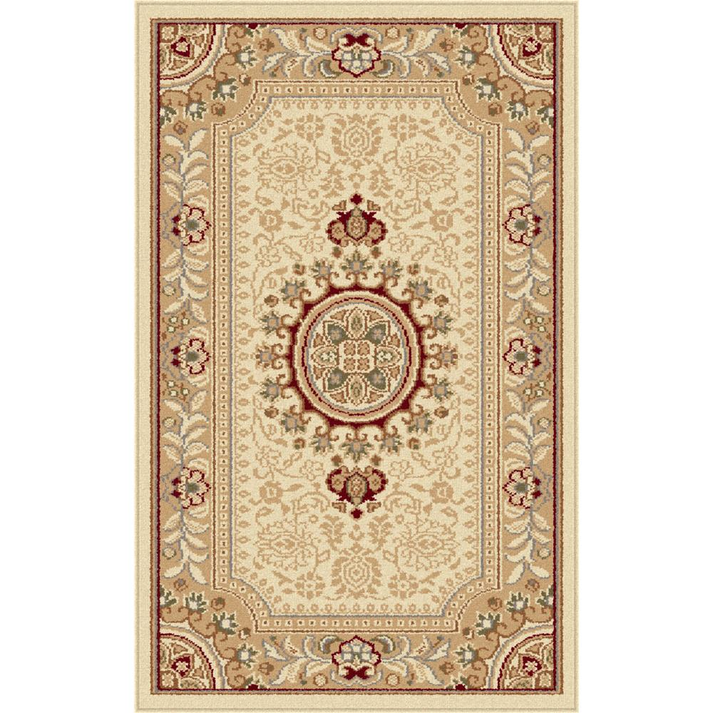 Tayse 4672  Ivory  2x3 Sensation Jayden Beige 2 ft. x 3 ft. Traditional Area Rug