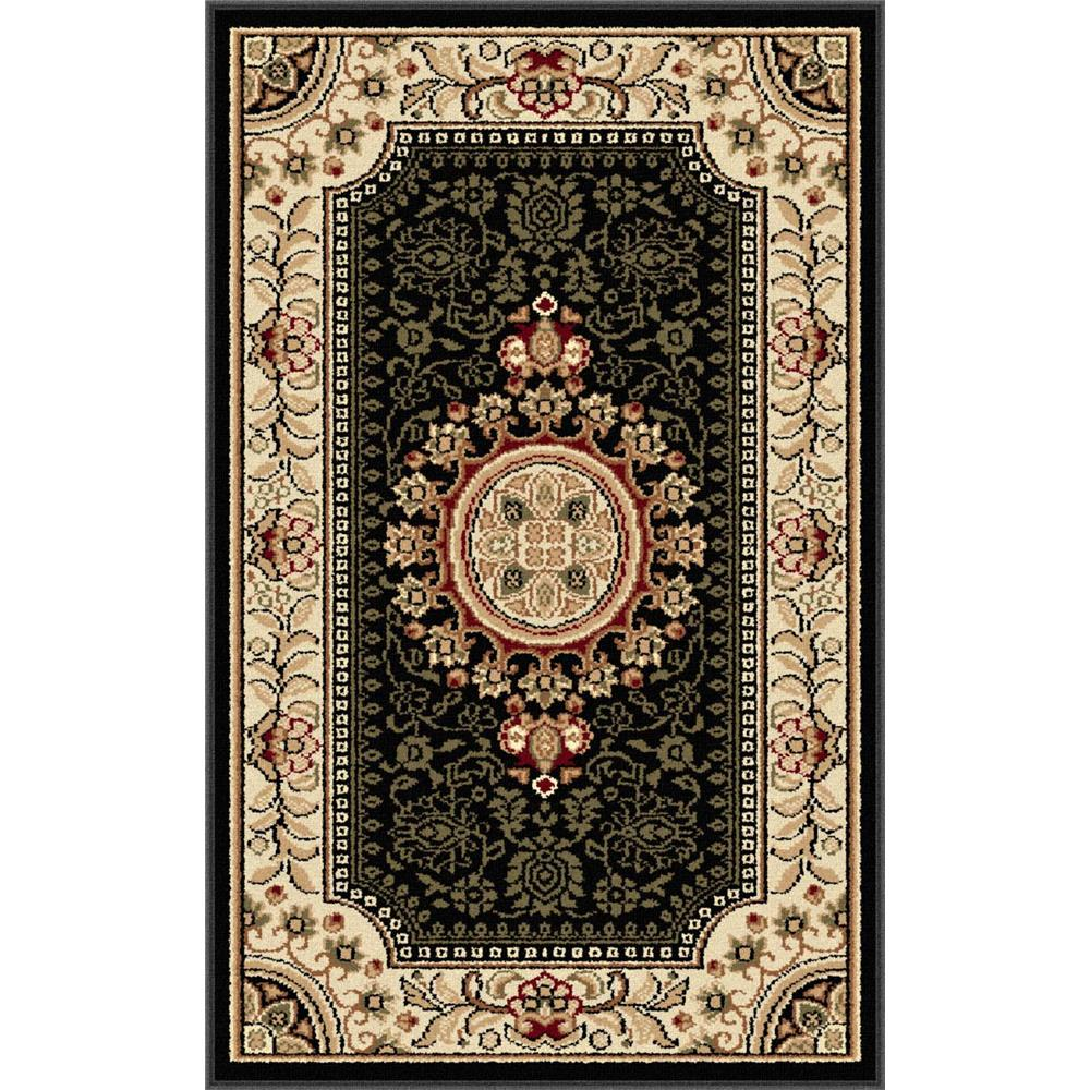 Tayse 4673  Black  2x3 Sensation Jayden Black 2 ft. x 3 ft. Traditional Area Rug