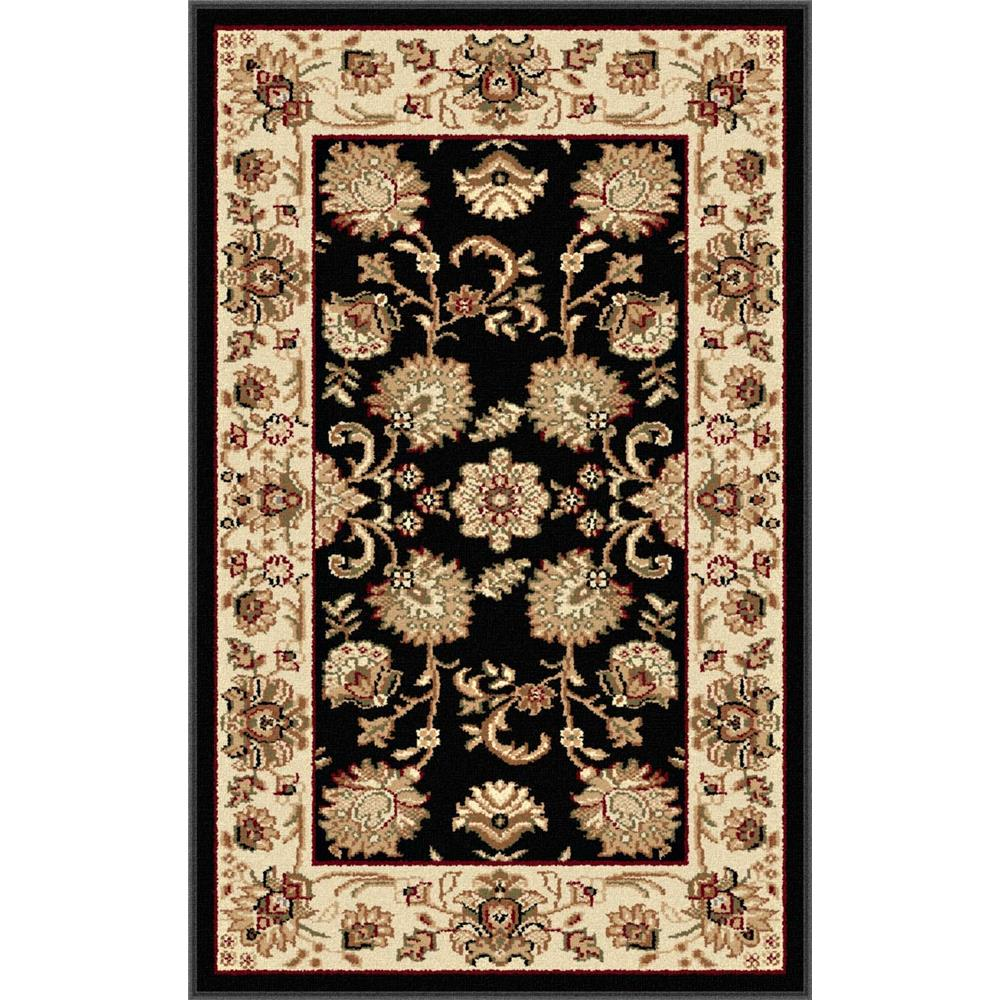 Tayse 4723  Black  2x3 Sensation Gabrielle Black 2 ft. x 3 ft. Traditional Area Rug