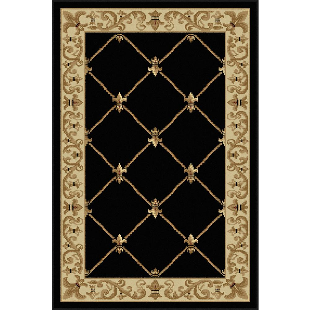 Tayse 4883  Black  2x3 Sensation Orleans Black 2 ft. x 3 ft. Traditional Area Rug