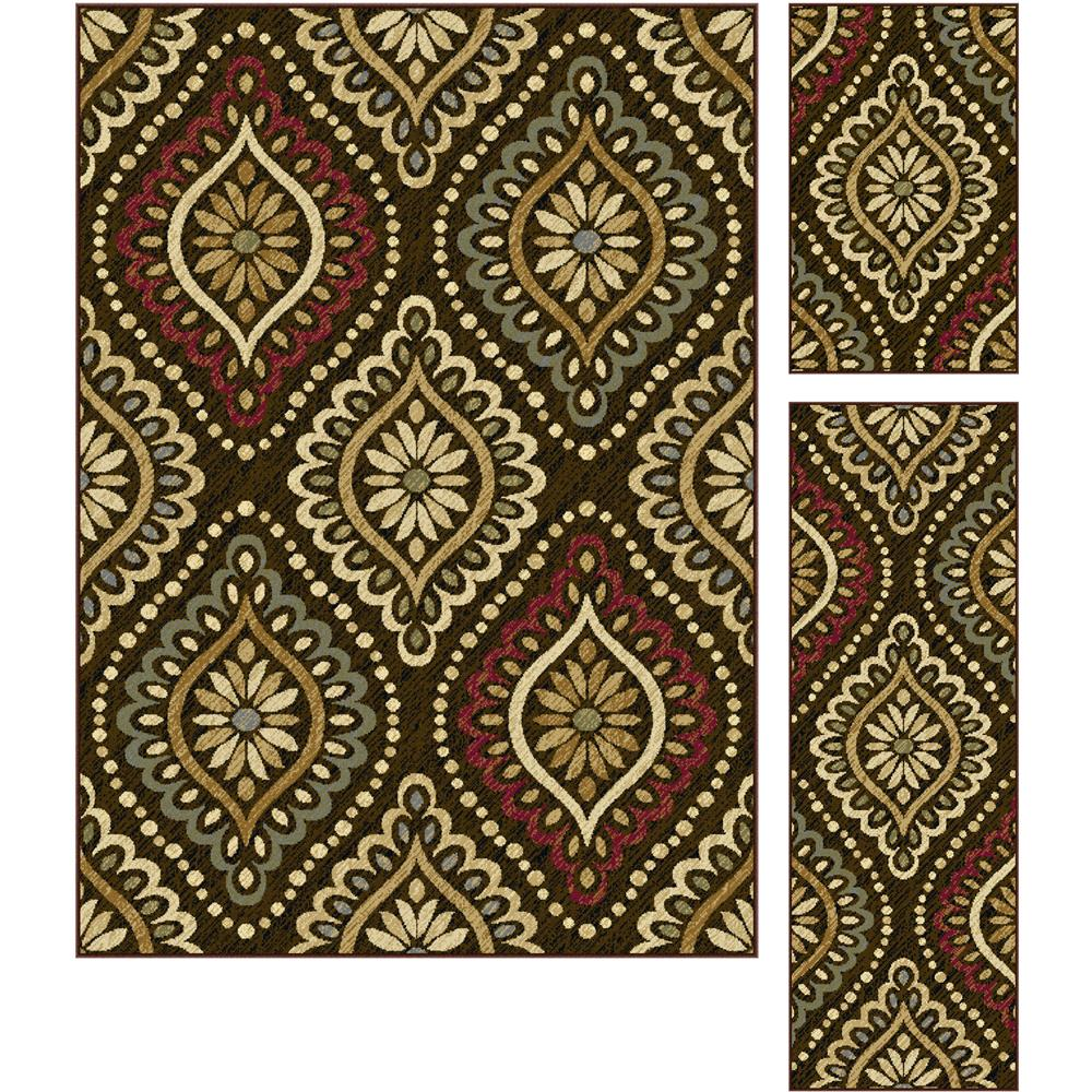 Tayse 5008  Brown  3 Pc. Set Laguna Modesto Brown 5 ft. x 7 ft., 20 in. x 60 in., 20 in. x 32 in. Transitional Area Rug