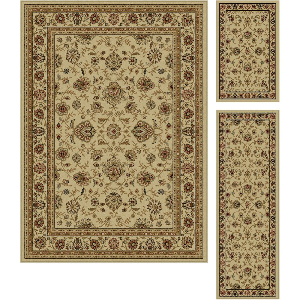 Tayse 5142  Ivory  3 Pc. Set Elegance Raleigh Beige Traditional Area Rug 3 pc. Set