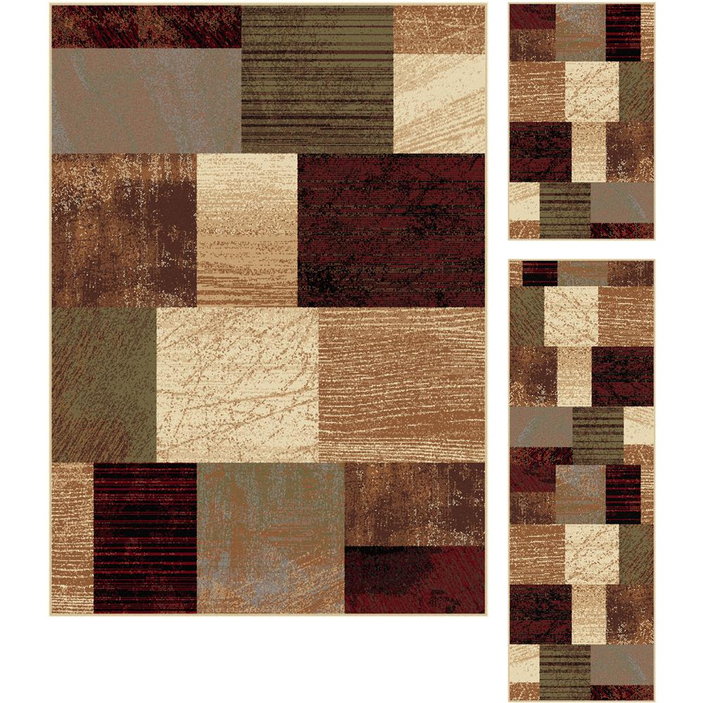Tayse 5210  Multi  3 Pc. Set Elegance Augusta Multi Contemporary Area Rug 3 pc. Set