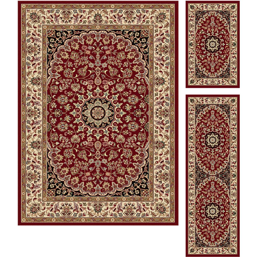 Tayse 5390  Red  3 Pc. Set Elegance Victoria Red 3 Piece Rug Set Transitional Area Rug
