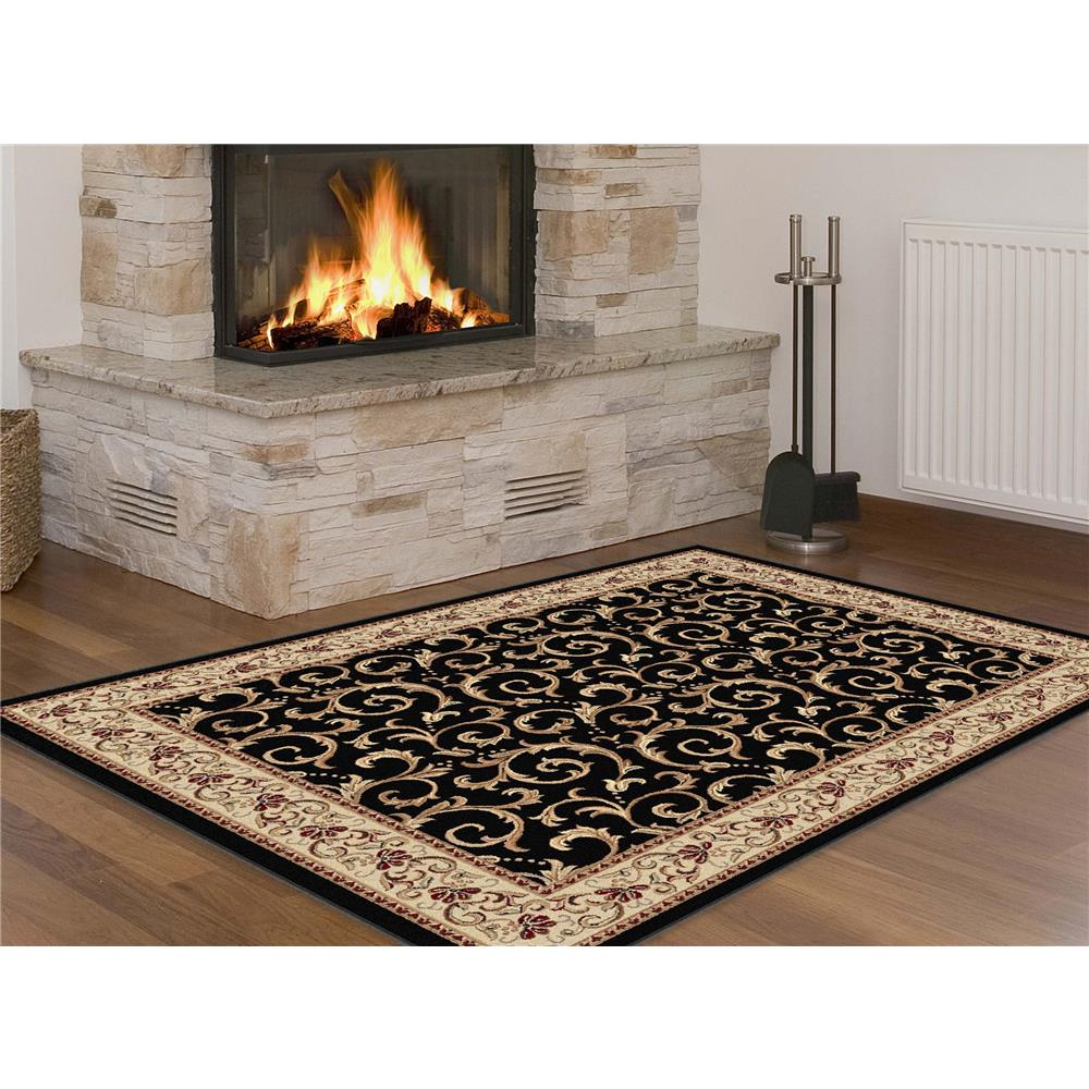 Tayse 5403  Black  5x7 Elegance Westminster Black 5 ft. x 7 ft. Transitional Area Rug