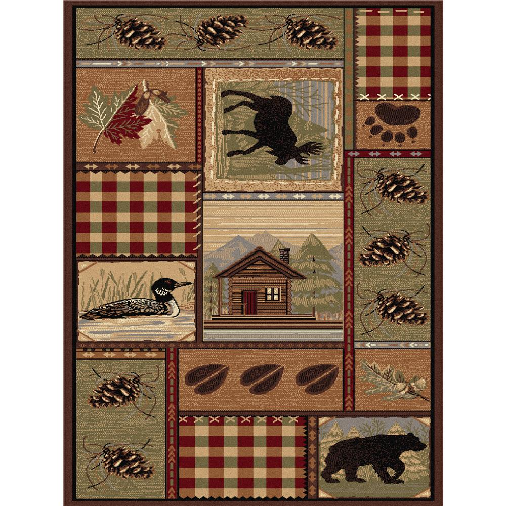 Tayse Nature 6548 Brown 3 ft. 11 in. x 5 ft. 3 in. Lodge Area Rug