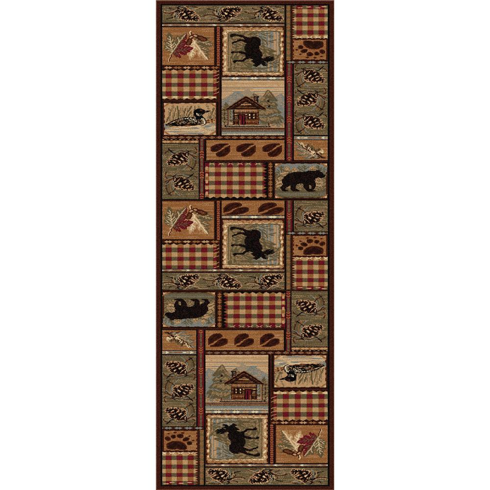 Tayse 6548  Brown  3x8 Nature Homespun Cabin. Brown 2 ft. 7 in. x 7 ft. 3 in. Lodge Runner