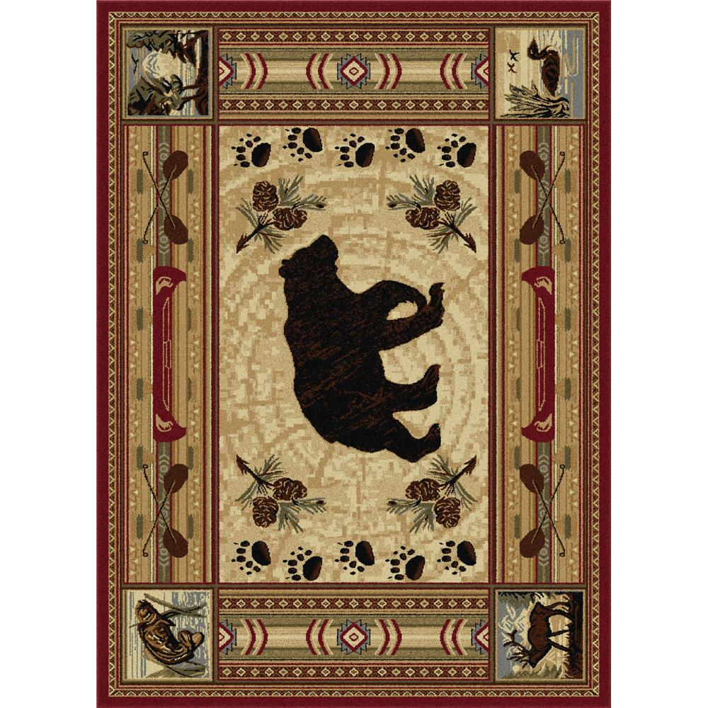 Tayse Nature 6550 Red 3 ft. 11 in. x 5 ft. 3 in. Lodge Area Rug