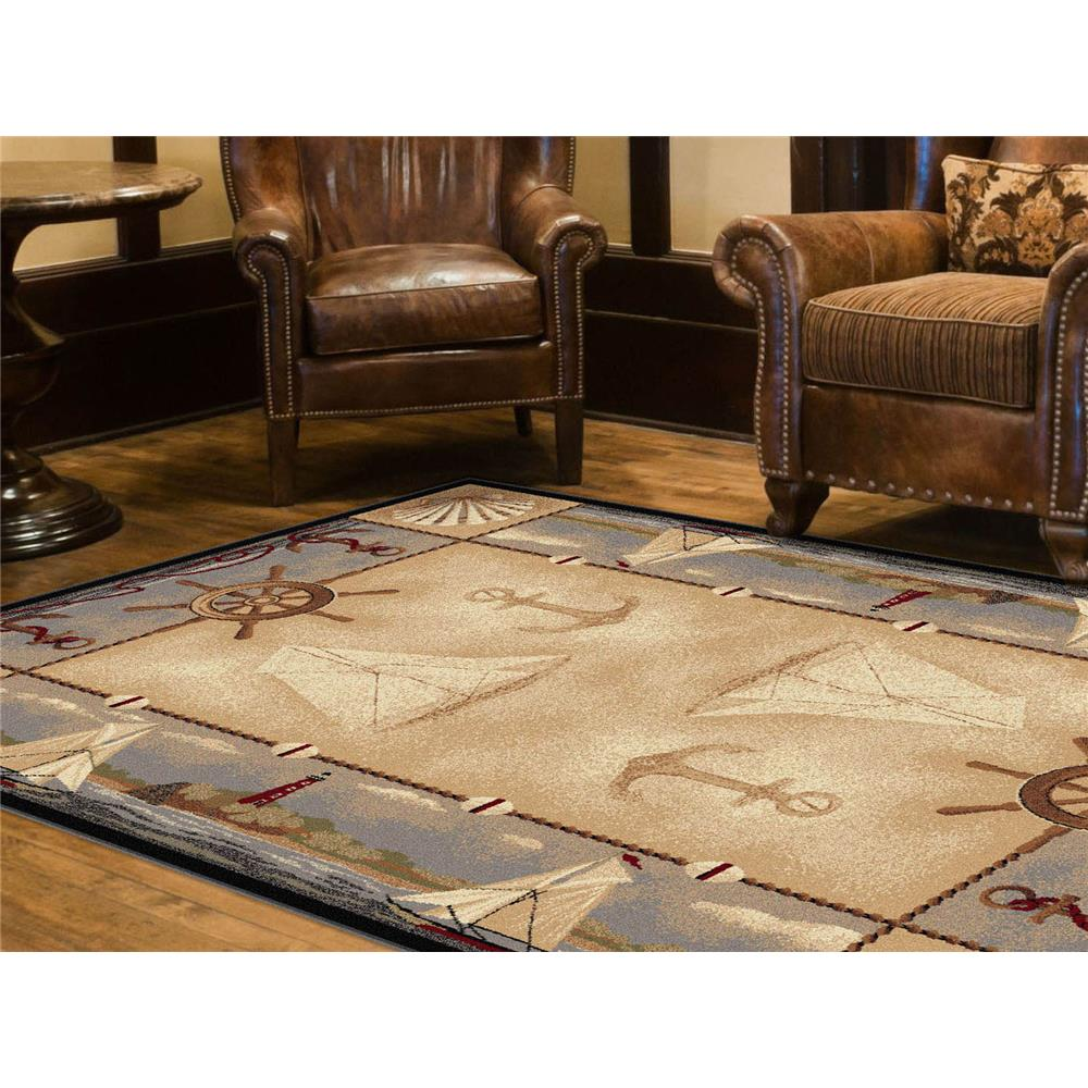 Tayse 6582  Beige  5x8 Nature Seashore Nautical Beige 5ft. 3 in. x 7 ft. 3 in. Lodge Area Rug