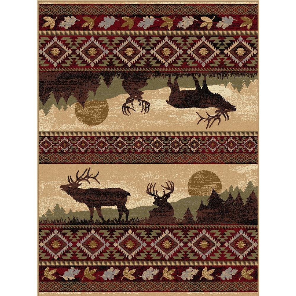 Tayse Nature 6595 Red 3 ft. 11 in. x 5 ft. 3 in. Lodge Area Rug