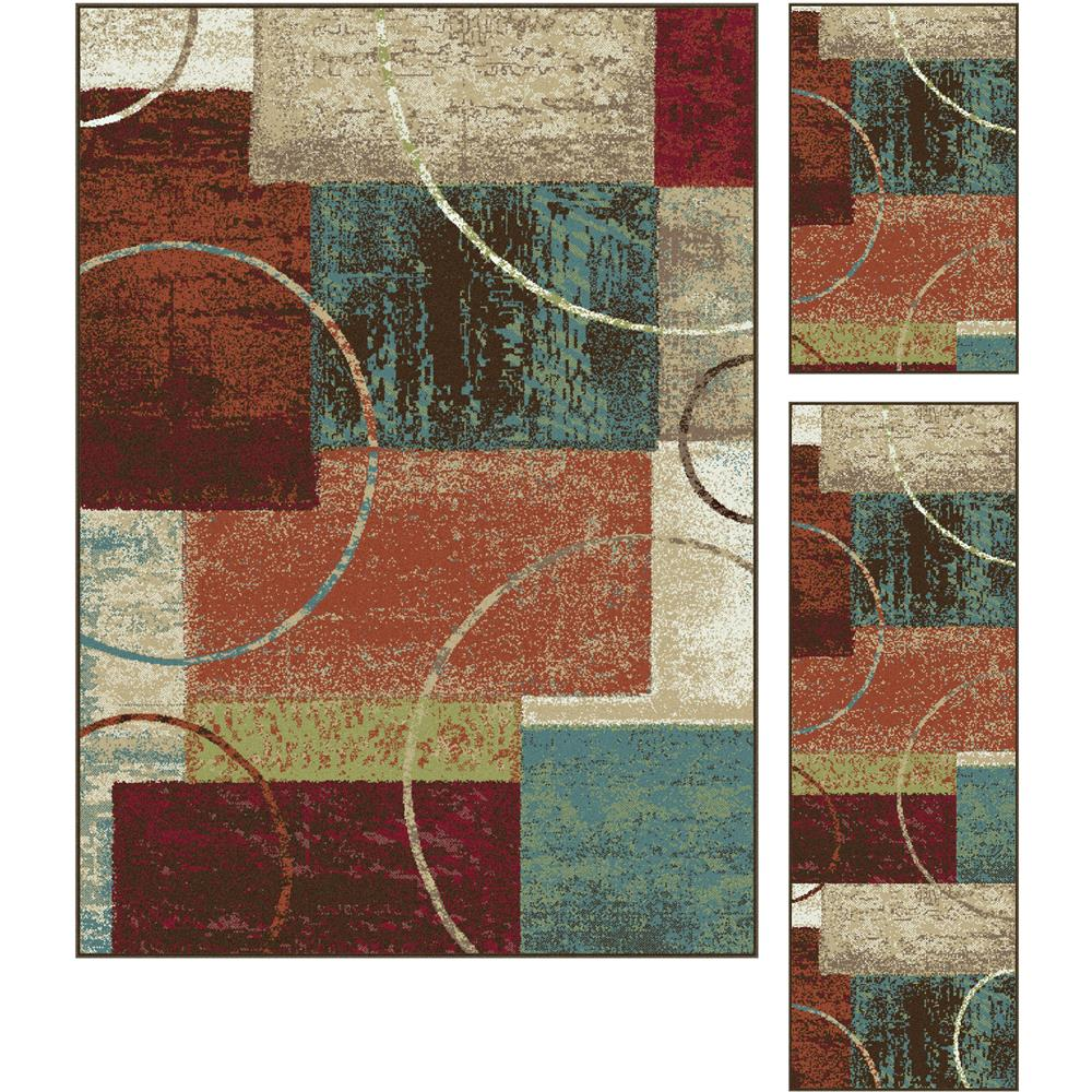 Tayse DCO1004 Set3 Deco Conner Multi 3 Pc. Set Contemporary Area Rug